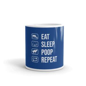 Dog Eat Sleep Poop Repeat White glossy mug